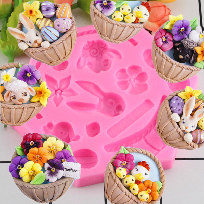 [해외]/DIY Easter Bunny Egg Chocolate Fondant Molds Cake Decorating Tools Flower Basket Animals Cupcake Candy Fimo Clay Moulds